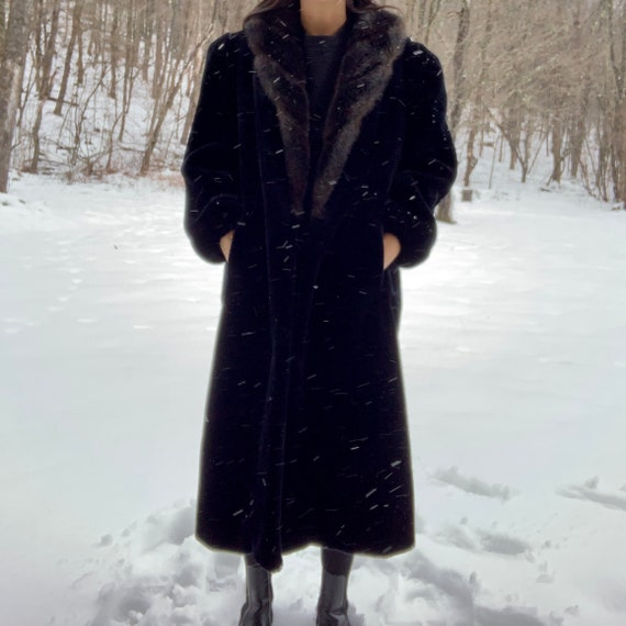 Vintage 80's Jordache Faux Fur Coat with Fur Colla