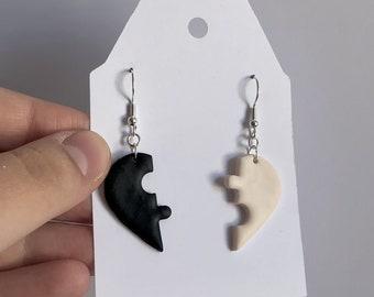 Broken heart puzzle earrings