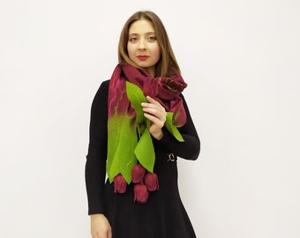 Hand Knitted Poncho with Felted Tulip Flower