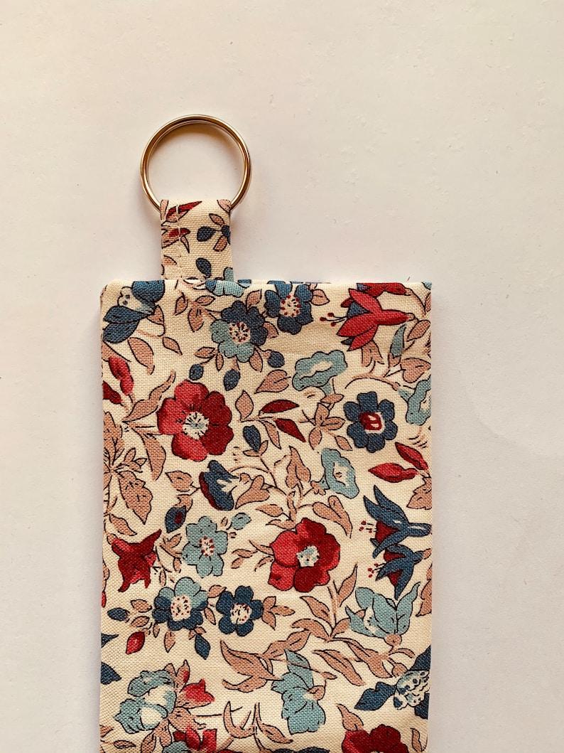 pouch handmade in UK Liberty Hand Sanitiser holder keyring