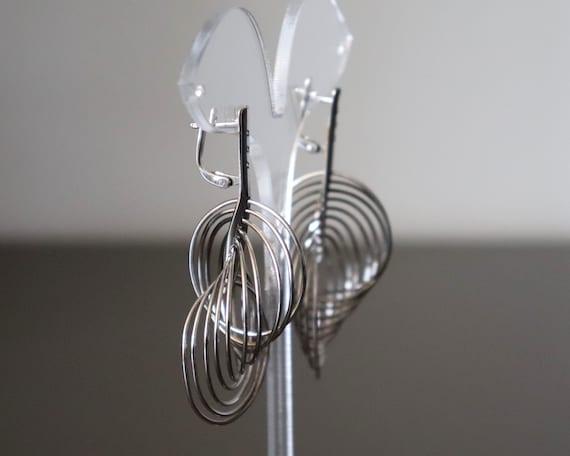 Silver Multi Hoop Earrings, Large Dangle Silver H… - image 8