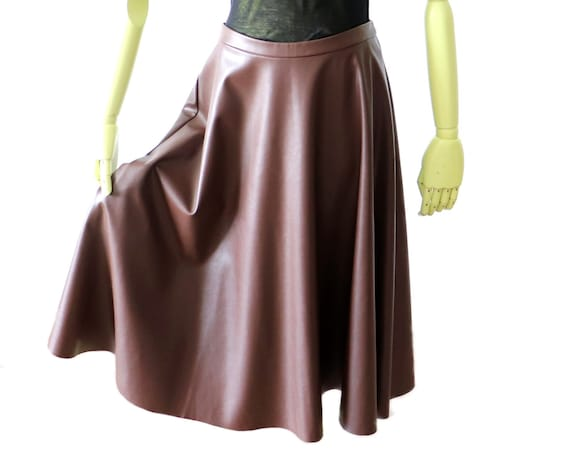 Benetton Full Circle Skirt | Brown Eco Leather Mid