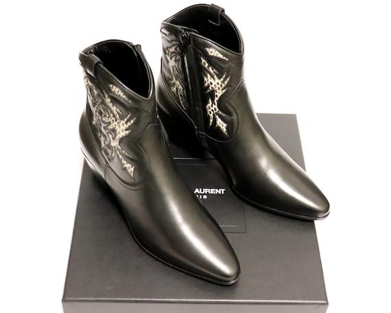 New SAINT LAURENT Boots   YSL Logo Western Boots  