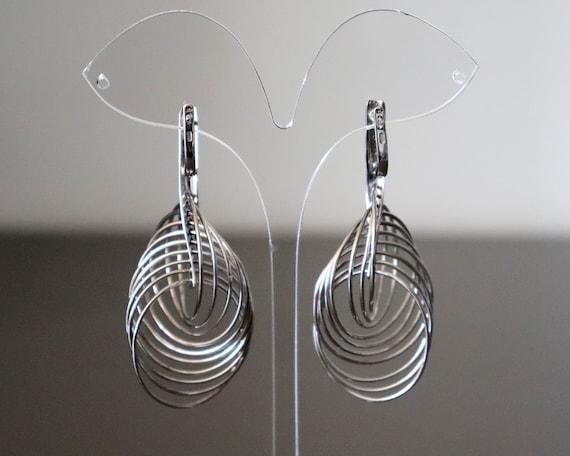 Silver Multi Hoop Earrings, Large Dangle Silver H… - image 2