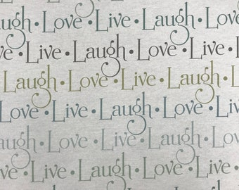 """Live Laugh Love Cotton Duck Fabric by Richloom - By the Yard - 45"""" Wide"""