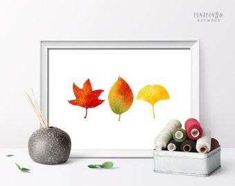 Autumn Leaves Art Print, Watercolor Fall Home Decor, Farmhouse Wall Art, Living Room Decor, Seasonal Decor Print, Horizontal Art Poster