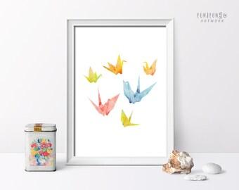 Paper Crane Watercolor Art Print, Origami Crane Illustration, Nursery Room Decor, Printable Decor Poster, Digital Art Print