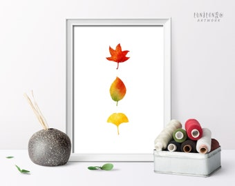 Watercolor Fall Leaves Poster, Autumn Home Decor, Farmhouse Wall Art, Living Room Decor, Seasonal Decor Art Print, Vertical Painting Poster