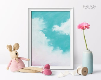 Abstract Cloud Art Print, Pastel Sky Illustration, Mint and Pink Wall Poster, Nursery Room Decor, Printable Sky Wall Art