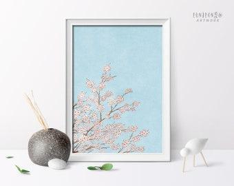 Cherry Blossom Art Print, Botanical Wall Poster, Boho Floral Wall Art, Pink Botanical Art, Living Room Decor Printable Print