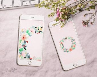 Floral iPhone Wallpaper, Digital Download Phone Wallpaper, Flower Wallpaper Instant Download, Phone Background Digital Art
