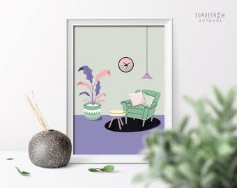 Cozy Home Illustration Poster, Boho Interior Design Digital Print, Cosy Room Art Print, Printable Wall Art Print, Simple Cosy Poster