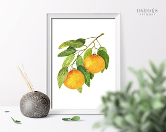 Watercolor Orange Painting, Citrus Illustration, Fruit Art Poster, Kitchen Wall Art, Home and Living Decor Poster