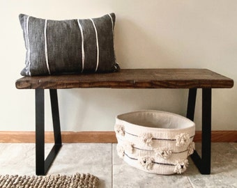 """Handmade Entryway Bench Rustic Country Farmhouse Real Distressed Wood Black Metal Trapezoid Legs Industrial 18""""-72"""", Multiple Colors & Sizes"""