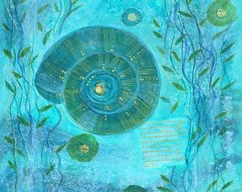 """Energy painting """"La Mer"""", unique, hand painted, canvas"""