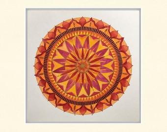 "Watercolor painting, mandala, ""element fire"", unique, hand painted, watercolor paper"
