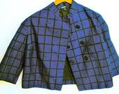 Vintage Marimekko blue and black windowpane check short lined swing jacket