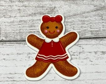 Ginger Bread Resin Gingerbread Man Ginger Bread Girl Christmas Hair Bow Planar Resin Christmas Resin