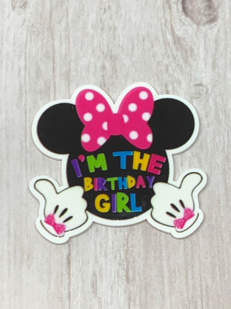 birthday girl 3 flatbacks Flatback resins resin bow center hairbow center planar resin embellishment Birthday Girl resins