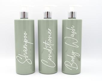 Mrs Hinch Inspired Reusable Sage Green 500ml Pump Bottle - Toiletries, Shampoo, Conditioner, Body Wash
