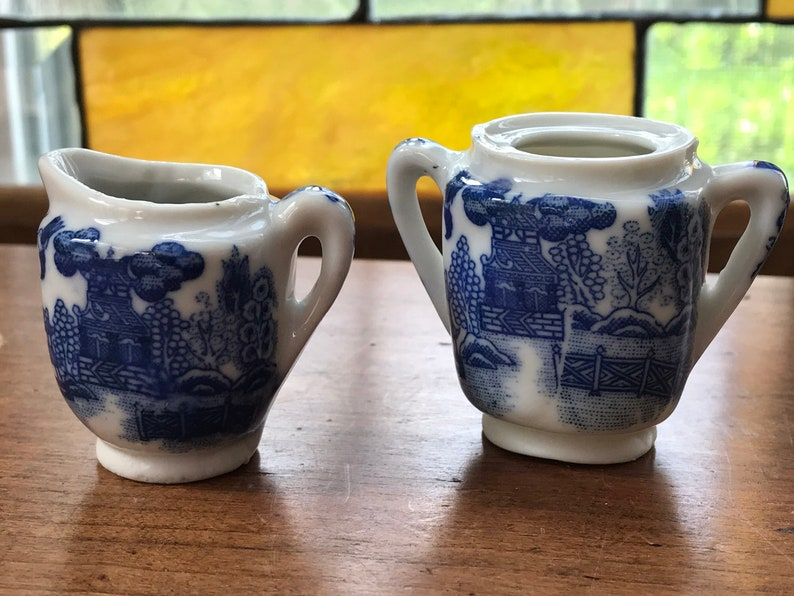 Blue Willow Square Shaped Toy Sugar and Creamer Miniature Blue Willow Sugar and Creamer