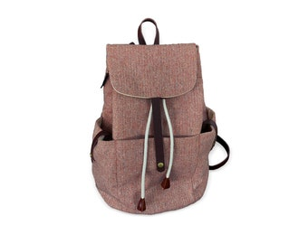 Brick Azure Backpack | Travel | Tweed With Lining Cotton | Light Weight Durable Well Made | Extra Strong Stitching