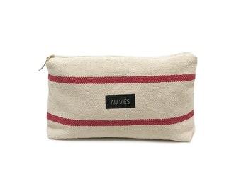 Natural Red | Pochette | Bag | Clutch | Purse | Beach Pochette | Zipper Pouch | Makeup Bag | Handmade