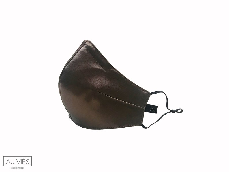 Miss Brownie  Brown  Satin Face Masks  Protective  image 0