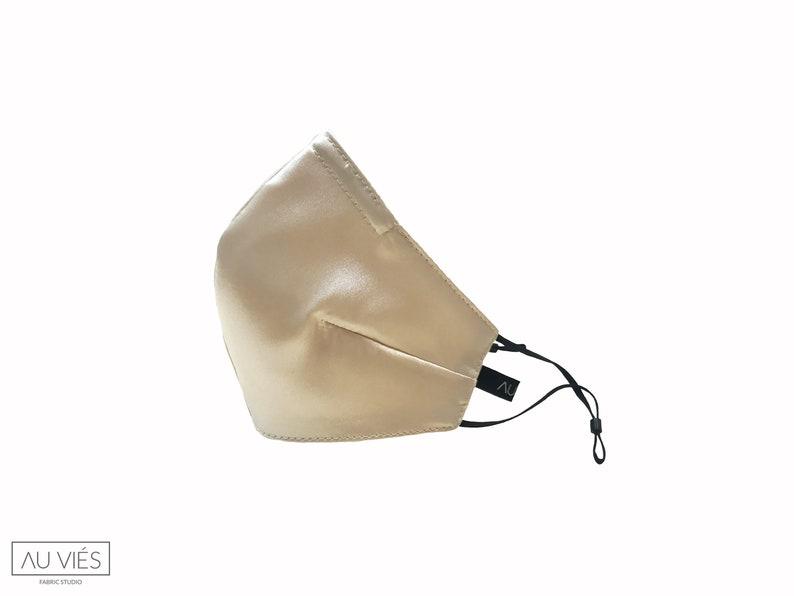 Miss Vanilla  Beige  Satin Face Masks  Protective  image 0