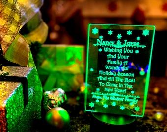 Wishing You A Wonderful Holiday Season - Personalized - LED Lamp