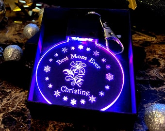 Best Mom Ever - Personalized - Holiday/Winter/Christmas - LED Keychain