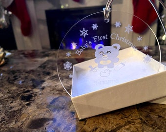 Baby's First Christmas - Personalized - Acrylic Ornament - With Teddy Bear Design