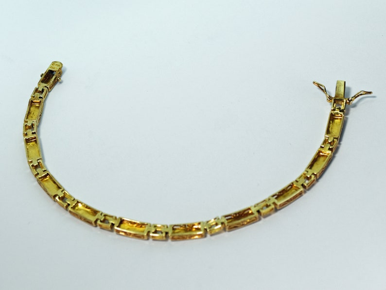 Gold Vermeil 8 14 Line Bracelet with tiny diamonds