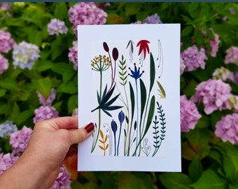 Original art Original A5 botanical painting Floral art Hand painted Gouache painting Colourful plants painting Gift for her