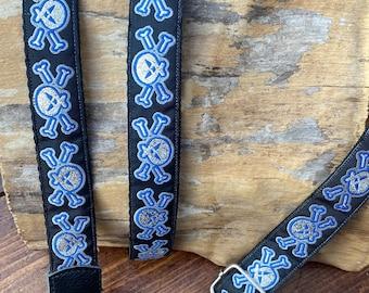 Black, Silver, Blue Skull and Crossbones - Ukulele, Mandolin, Guitar Strap  - 25mm (1inch)