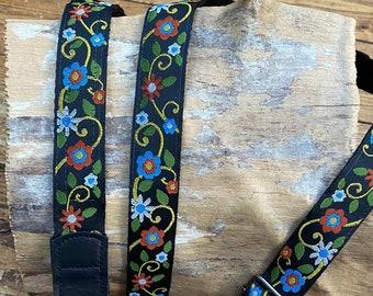 Black Multi Floral- Ukulele, mandolin Strap - 25mm (1 Inch)