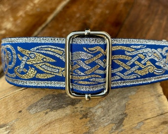 Blue, Silver and Gold  -Adjustable  Dog Collar  - 30mm (1.25 inch) wide - Celtic Beastie