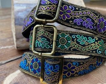 Blue, Purple, Green Tudor Rose - Adjustable Dog Collar - 25mm, (1 inch) wide