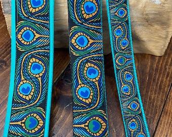 VEGAN 'Cork Leather'- Blue,Green & Jade Peacock -  Ukulele, Mandolin, Guitar Strap - 25mm ( 1 inch), 40mm (1.5 inch), 48mm (2 inch)