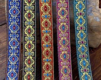 Ornate Diamond  -    Ukulele, Mandolin strap - 25mm (1 inch)  - Black, Pink, Orange, Teal, Blue with Gold