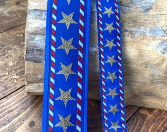 Stars and Stripes - Guitar, Ukulele, Mandolin Strap - 48mm (2 inch) Or 25mm (1 inch) - Red, white, blue and Gold