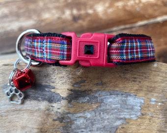 Tartan Cat Collar  - Breakaway Buckle - Adjustable - 15mm wide