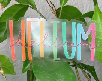 Helium lettering Element Chemistry Sticker