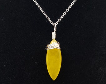 Yellow Chalcedony  Onyx Handmade Necklace  Wire Wrapped Pendant  Wire Weaved  Wire Wrap Jewelry  Gift