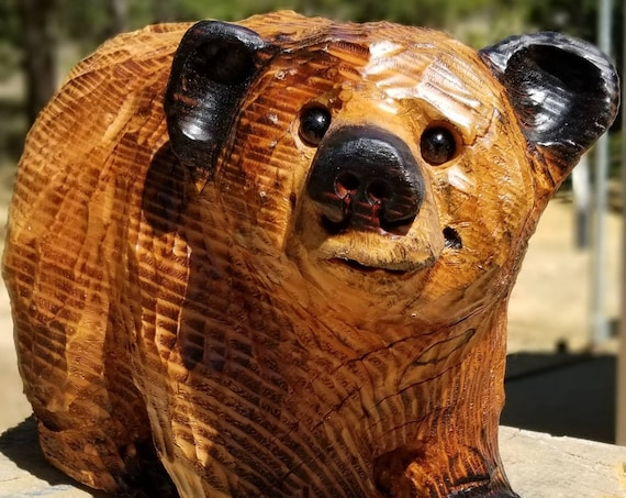 """15"""" Chainsaw Carved Bear on All 4's"""