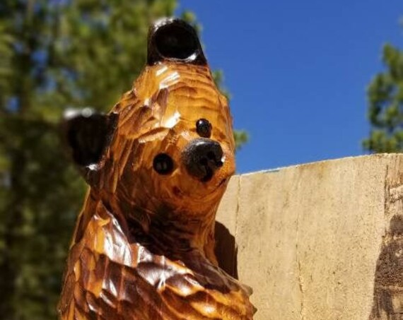 """15"""" Chainsaw Carved Hanging Bear for Posts, Corners, Poles, Trees"""