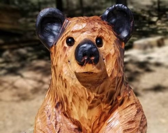 """15"""" Chainsaw Carved Sitting Bear"""
