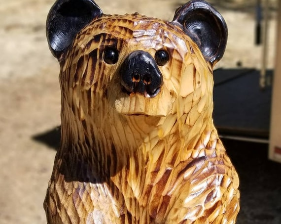 """15"""" Chainsaw Carved Welcome Bear Reversible Sign"""