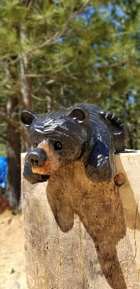 "15"" Chainsaw Carved Bear for Mantles, Shelves, Railings or Ledges"