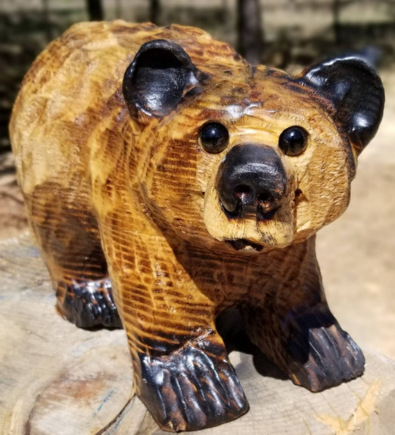"""12"""" Chainsaw Carved Bear on All 4's"""